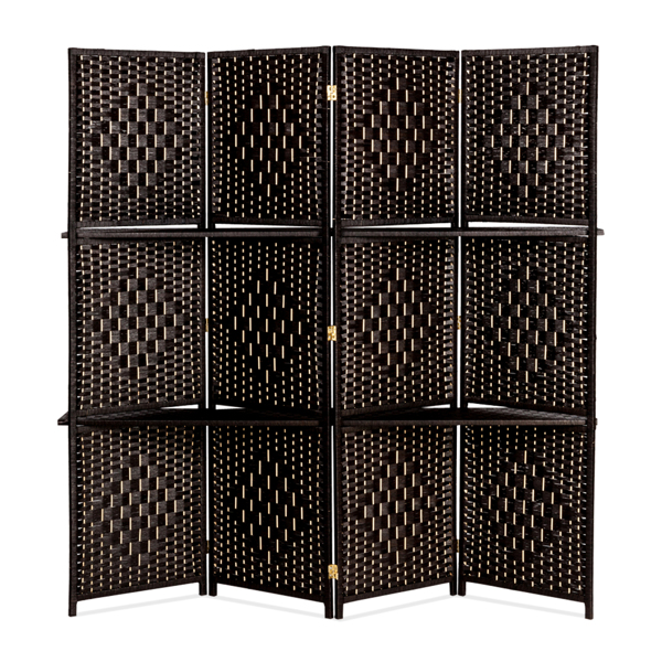 Four Folds Rattan Chinese Style Screen with Two Plates Dark Brown