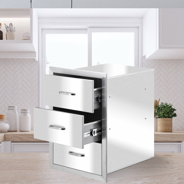 ZOKOP 39.9*54.3*45.5cm Stainless Steel Three-Drawing And Large Courtyard Oven Drawer Silver