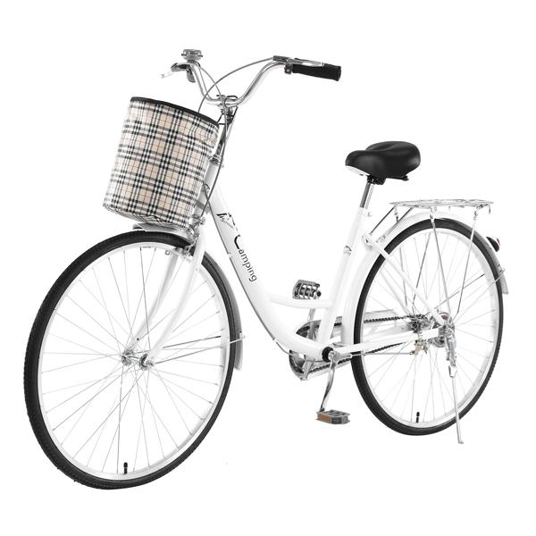 26Inch Iron Frame Bearing 100kg Single Speed Commuter Bike White(Do not  sell  on  Amazon)