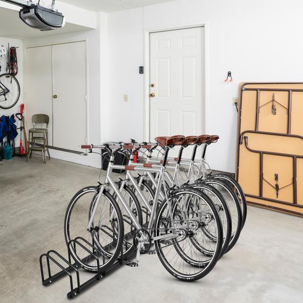 160*33*29cm Ground Parking 6 Frame Bicycle Parking Rack Black