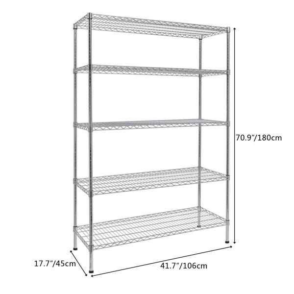 5-Tier Adjustable Storage Shelving Unit Chrome