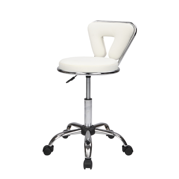Hydraulic Rolling Swivel Salon Stool Chair Height Adjustable Home Spa Massage Manicure Facial Stool with Backrest and Wheels,White
