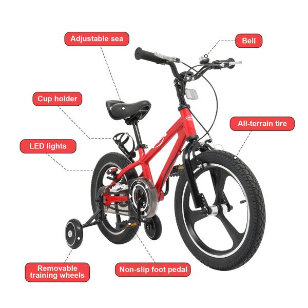 Kids Bike with Training Wheels , Kids Bicycle with Handbrake and Rear Brake Kickstand Child's Bike, 16 Inch, Red