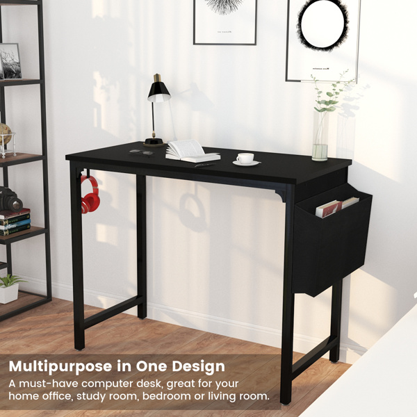 """FXW 40"""" Computer Table for Home Office Desk Black Study Writing Small Desk"""