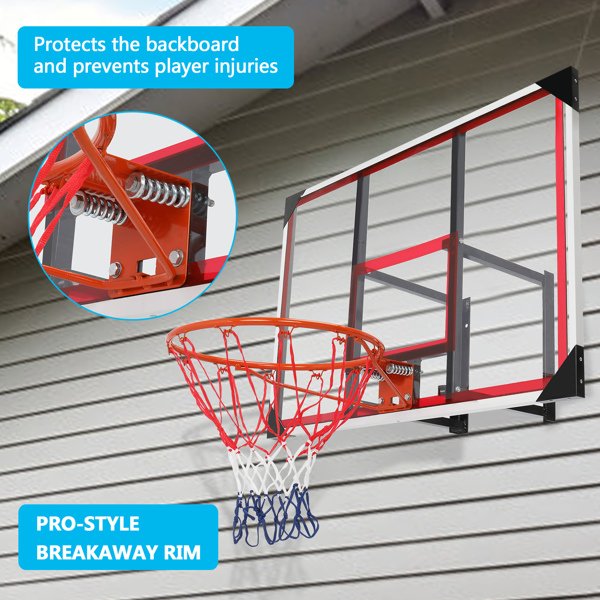 PC Transparent Board 110*75cm Red And White Steel Edging Wall-Mounted Adult Maximum Applicable 7# Ball Backboard