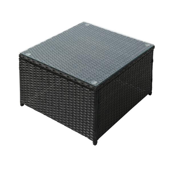 Oshion Three-Seater One-Piece Sofa Pedal Coffee Table Dark Gray Cushion Black Gradient Rattan Three-Piece Rattan Set Iron