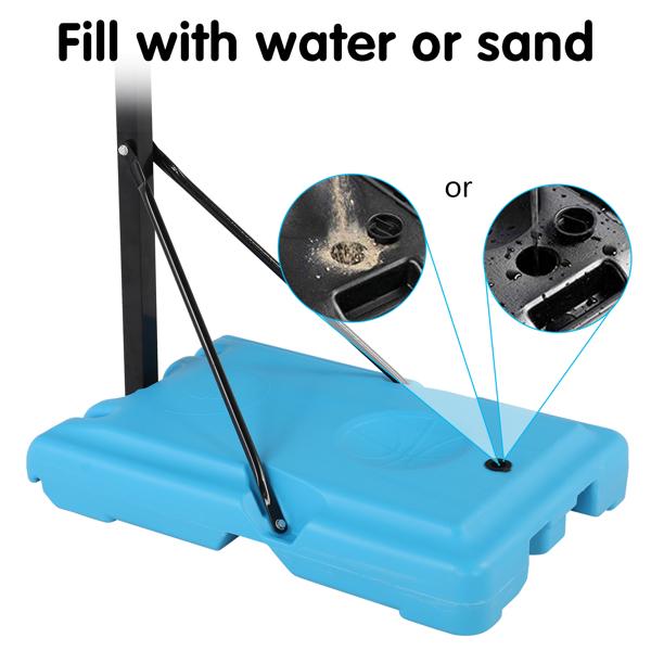 Transparent PVC Board Basket Frame Adjustable 122-198cm 90*60cm Portable and Movable Poolside Basketball Stand Blue