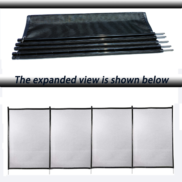 48x4 Ft Outdoor Pool Fence With Section Kit,Removable Mesh Barrier,For Inground Pools,Garden And Patio,Black