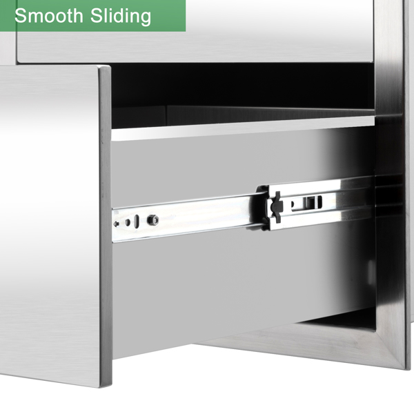 ZOKOP 58.4*45.6*59cm Stainless Steel Three-Drawing, Ranging In Size Courtyard Oven Drawer Silver