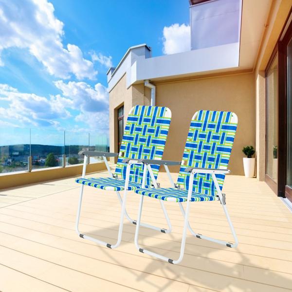 2pcs Steel Tube PP Webbing Bearing 120kg Folding Beach Chair Blue Strip