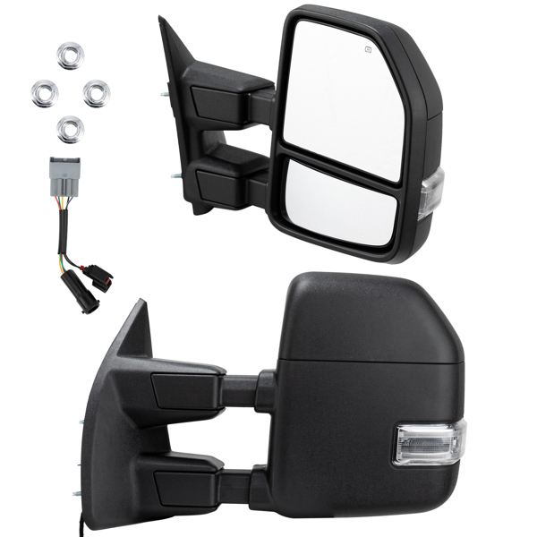 Towing Mirrors Power Heated LED Turn Signal For 1999-2007 Ford F250-550