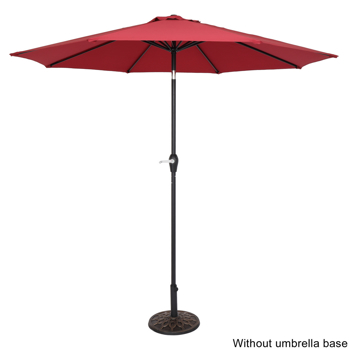 9FT Central Umbrella Waterproof Folding Sunshade Wine Red