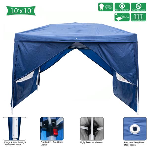 3 x 3m Two Doors & Two Windows Practical Waterproof Folding Tent Blue