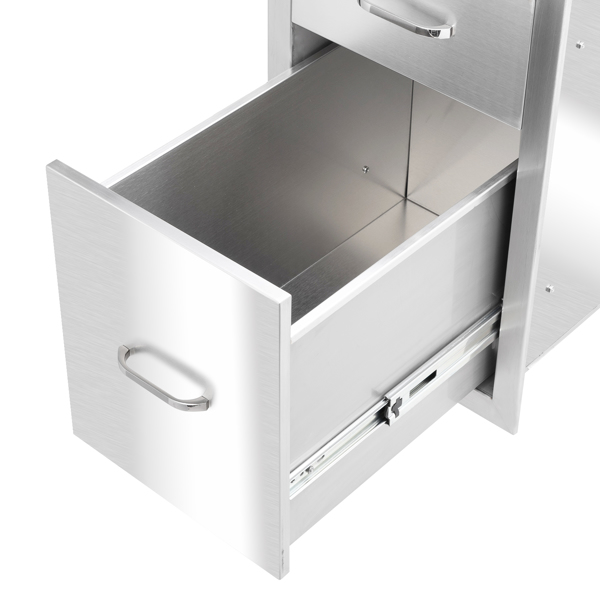 ZOKOP 51.7*33*53cm Stainless Steel Two Drawers Different Size  Courtyard Oven Drawer Silver