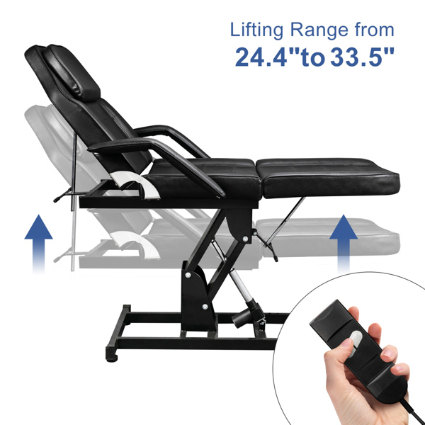 72in 3-Section Spa Beauty Salon Tattoo Massage Bed with Motorized Reclinable Height Power Lift & Stool Black