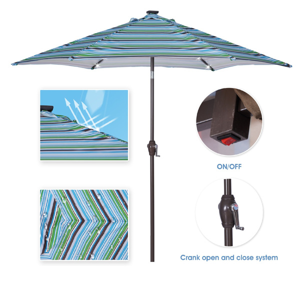 Outdoor Patio 8.7-Feet Market Table Umbrella with Push Button Tilt and Crank, Blue Stripes With 24 LED Lights[Umbrella Base is not Included]
