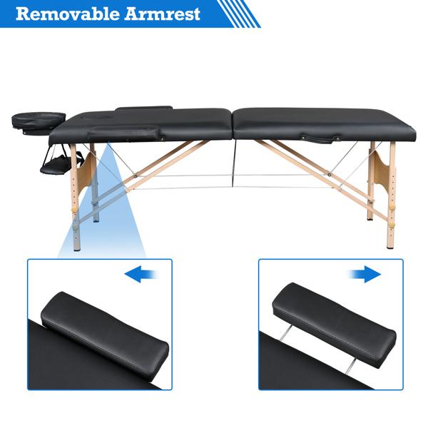 "84"" 2 Sections Folding Portable Beech Leg Beauty Massage Table 60CM Wide Adjustable Height Black"