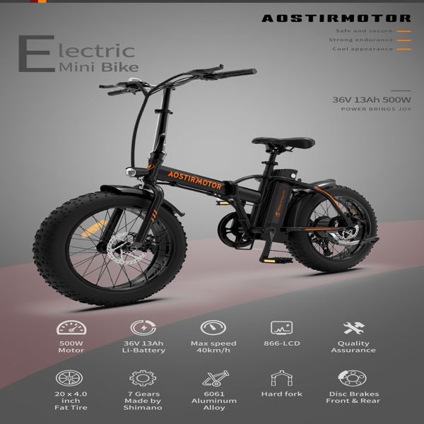 """AOSTIRMOTOR Folding Electric Bicycle 500W Motor 20"""" Fat Tire With 36V/13Ah Li-Battery零售限价$849"""