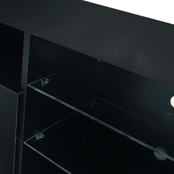 """145 Modern 57"""" TV Stand Matte Body High Gloss Fronts with 16 Color LEDs Black"""
