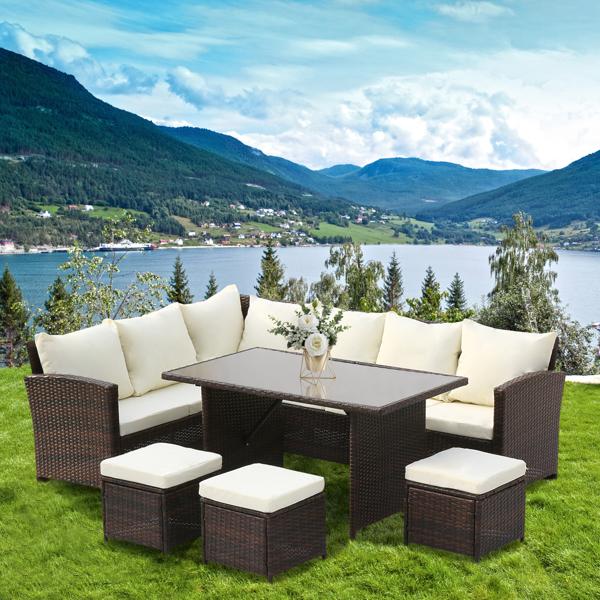 9-Seater Rattan Furniture Outdoor Sofa Dining Table With Free Rain Cover Black Silk Screen Glass Beige Sofa Cover (UK Flame Retardant Material) Brown Gradient Rattan Rattan Multi-Piece Cover