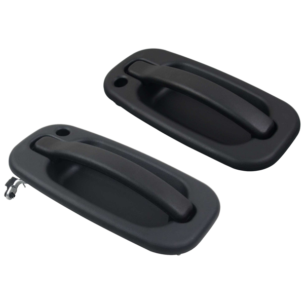 Door Handles Outside Exterior Black Front Left & Right Pair Set 15034985 15034986 For Cadillac Escalade Chevrolet Avalanche GMC Sierra 2000-2006