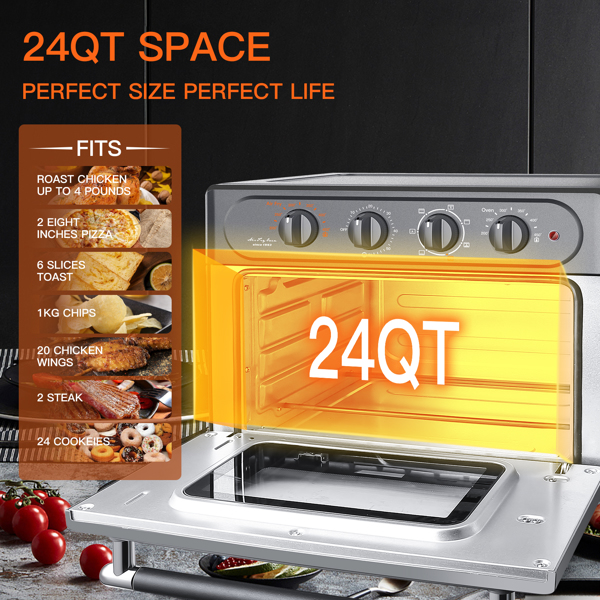 Air Fryer Toaster Oven 24 Quart - 7-In-1 Convection Oven with Air Fry, Roast, Toast, Broil & Bake Function  for Countertop - Kitchen Appliances for Cooking Chicken, Steak & Pizza(Prohibit Amazon sales