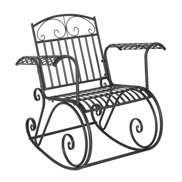 Artisasset Black Paint High Backrest Arched Armrests Outdoor Park Single Iron Rocking Chair