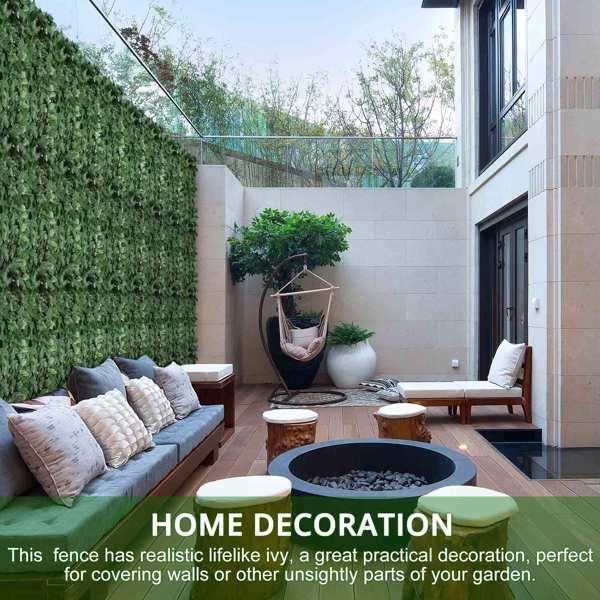 Decorative Simulation Dark Green Leaf Fence Net Artificial Plastic Fence for Garden Courtyard Balcony