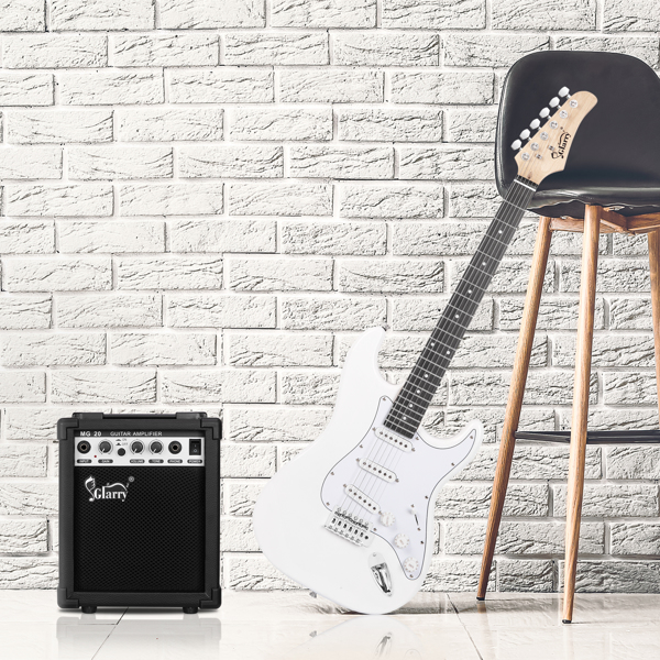 【Do Not Sell on Amazon】Glarry GST Stylish Electric Guitar with SSS Pickup,White Pickguard, 20W Amplifier White
