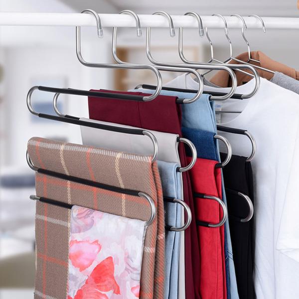 Trouser Hanger Trouser Hangers Space-Saving S-Type Clothes Pants Hangers Non-Slip Closet Organizer for Scarf Jeans Clothes Trousers Towels