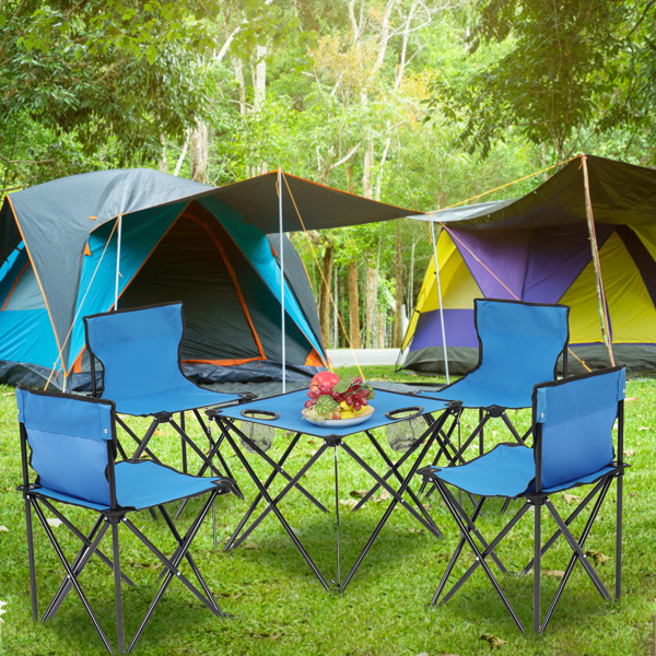 Oxford Cloth Steel Camping Folding Table and Chair Set Blue
