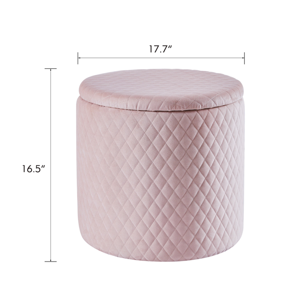45cm Velvet Round Footstool Storage Ottoman Stool, Oversized Padded Seat Pouffes Vanity Chair with Lattice Design Lids Footrest for Living Room Bedroom (Pink)