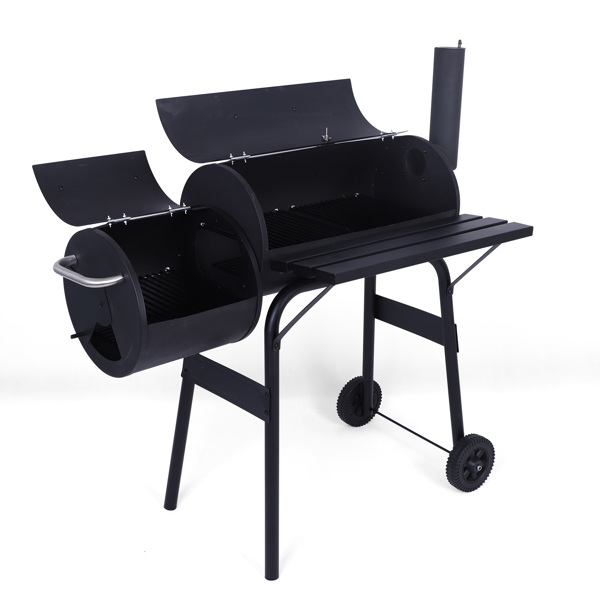 Charcoal Grill Barbecue Grill with Offset Smoker/Wheels/Temperature Gauge for Patio Picnic Outdoor Camping Cooking