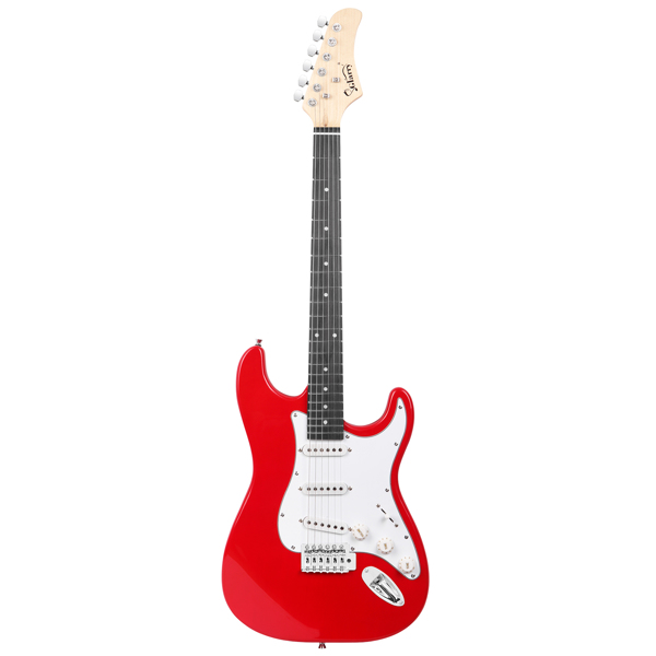 【Do Not Sell on Amazon】Glarry GST Stylish Electric Guitar with SSS Pickup,White Pickguard, 20W Amplifier Red