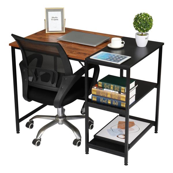 FCH 100cm Retro Color Black Particleboard Paste Triamine Stitching Computer Desk