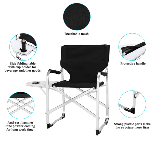 90*60*50cm 120kg Alumina Flat Tube Director Chair Without Carrying Bag Black