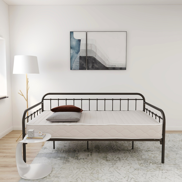 Metal Daybed Frame Twin Size Platform No Box Spring Needed with Vintage Headboard and Footboard Premium Steel Slat Support