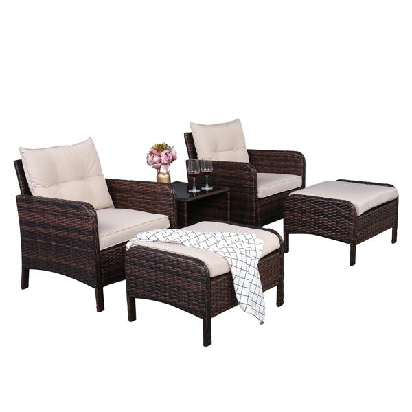 2pcs Single Sofa Round Corner Armrests Five-Piece Rattan Set Brown Gradient
