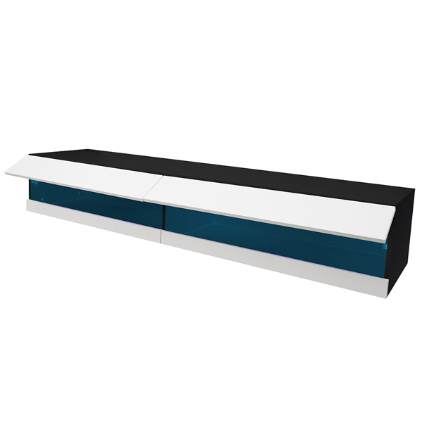 """180 Wall Mounted Floating 80"""" TV Stand with 20 Color LEDs W Black"""