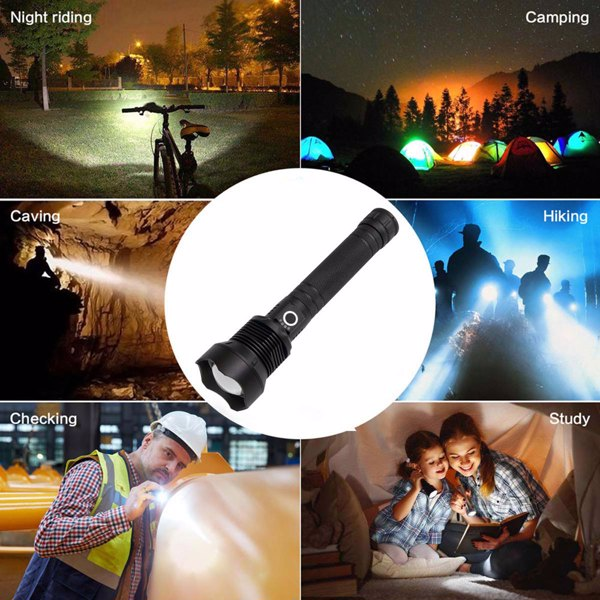 High-power 7 X 7MM LED 30W 5V Micro USB Telescopic Zoom Rechargeable Flashlight Suitable For Camping, Climbing, Night Riding, Caving Waterproof Rating IPX4