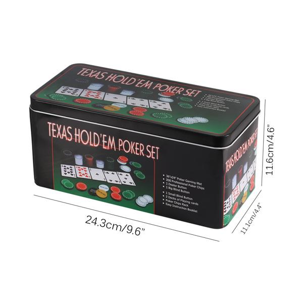 200 Poker Game Texas Hold'em Set Gaming Mat Chips 2 Decks Playing Card Tin Box