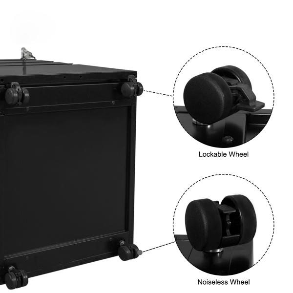 FCH Metall Rollcontainer, Büro-Rollcontainer, Aktenschrank mit Schloss und Rollen für A4, 3 Schublade, 45x39x62cm, Schwarz