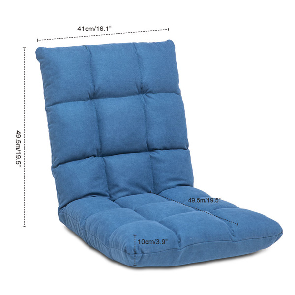 Floor Gaming Chair Adjustable 14-Position with Back Support for Meditation Reading Kids Adults, Blue