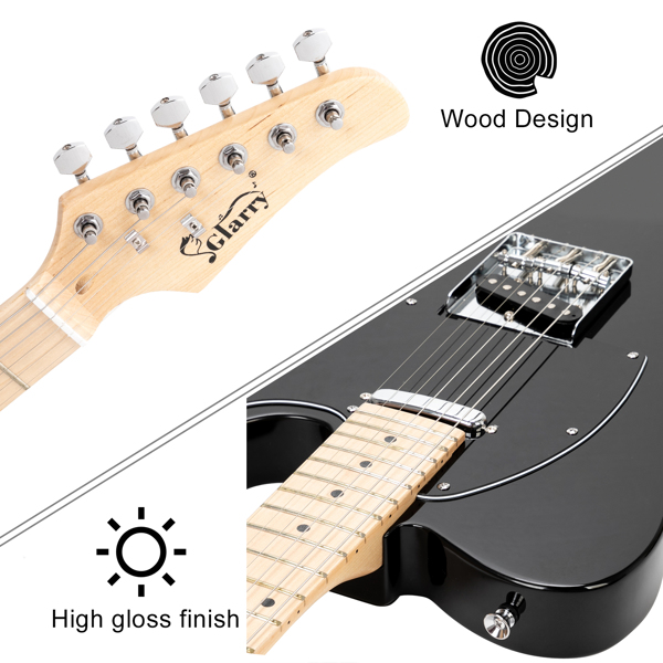 【Do Not Sell on Amazon】Glarry GTL Maple Fingerboard Electric Guitar with 20W Amplifier Bag Strap Plectrum Connecting Wire Spanner Tool Black