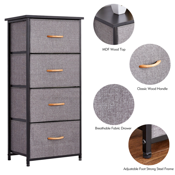 4 Drawers Dresser Narrow Storage Tower Nightstand With Sturdy Steel Frame Waterproof Solid Wood Top, Easy Pull Fabric Bins, Wood Handles, Organizer Unit for Bedroom, Hallway, Entryway, Closets