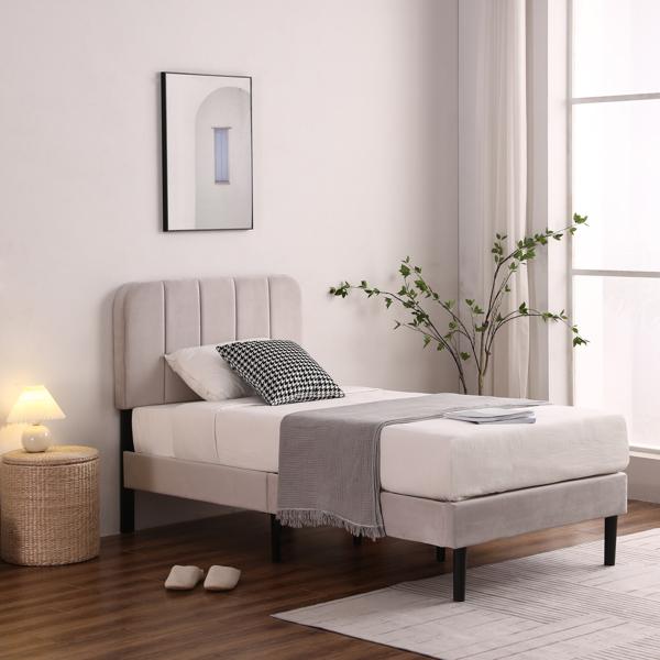 Twin Adjustable Headboard Height Flannelette Soft-Packed Bed Light Khaki
