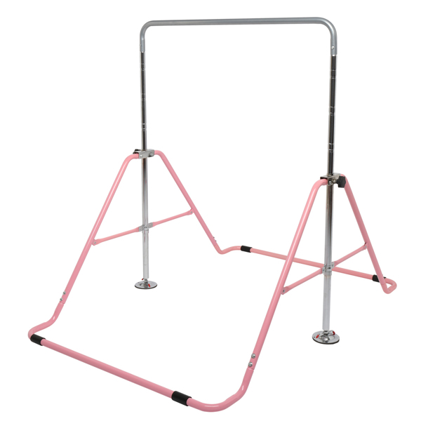 Foldable Children's Horizontal Bar Gymnastics Bar Pink