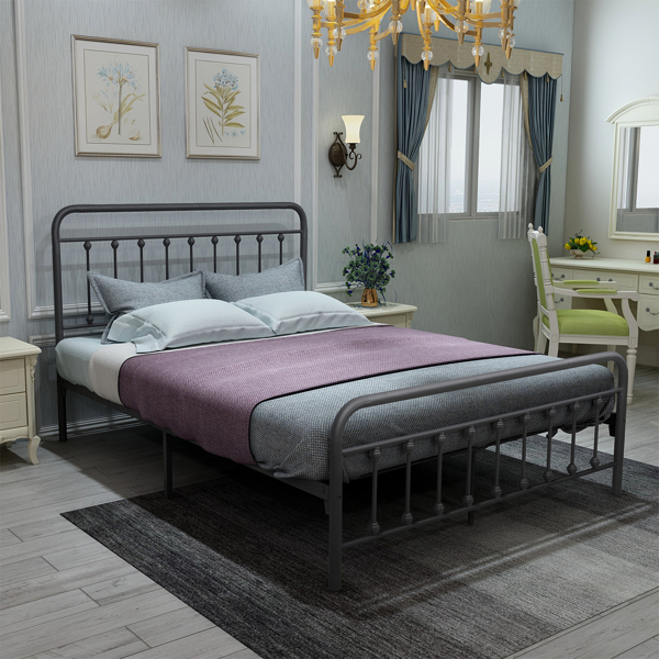 .Vintage Queen Metal Bed Frame with Headboard and Footboard Platform/Wrought Iron/Heavy Duty/Solid Sturdy Metal Slat/No Box Spring Needed