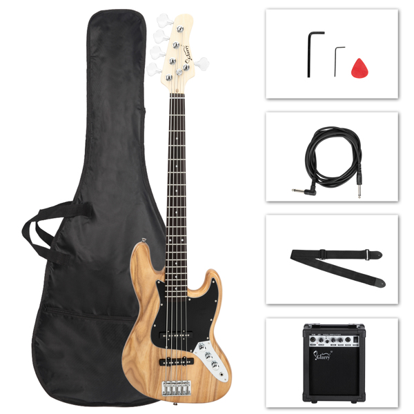 【Do Not Sell on Amazon】Full Size Glarry Gjazz Electric 5 String Bass Guitar 20W Amplifier Bag Strap Pick Connector Wrench Tool Log Color