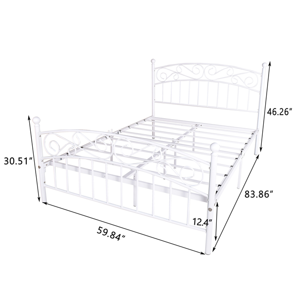 Metal bed frame platform mattress foundation with headboard and footrest, heavy duty and quick assembly, Queen White